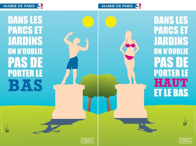 Two posters by the Paris City Hall.